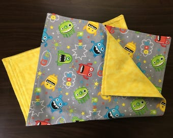 Burp cloths, flannel, double sided, set of two