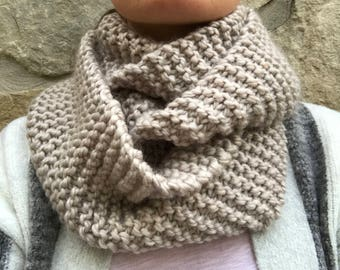 Hand Knit Chunky Champagne Cowl Scarf - Wool Acrylic Blend - Champagne Infinity Scarf - Knit Cowl Scarf - Knit Snood - Ready to Ship