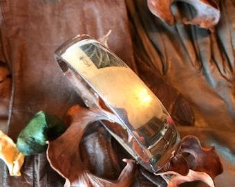 Vintage Heavy Solid Sterling Silver Artisan Hinged Bangle Bracelet 75 grams
