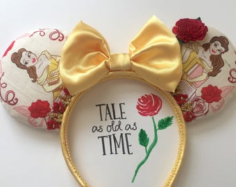 Belle Beauty and The Beast Mickey/Minnie Mouse Ears,  Disney Custom Belle Beauty and The Beast Ears, Minnie Ears,  Ears, Belle Mickey Ears.