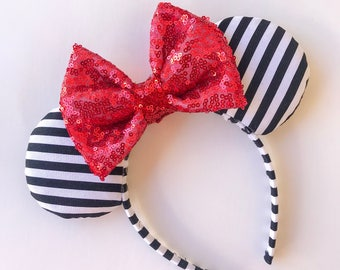 Black and White Stripe Mouse Ears