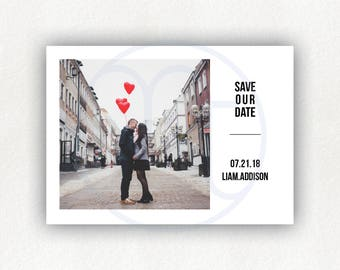 Printable, Custom, Minimalist Photo, Simple Save the Date Postcard, Photo Announcement, Engagement Card, Wedding Announcement,