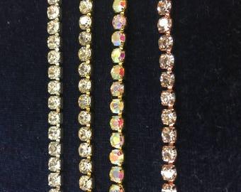 10 yard Rhinestone trim/ Rhinestone Chain/ Formal gown belt/ rhinestone Swarovski shine silver,gold, clear,clear ab and rose gold clear