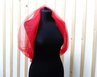 etole ,   red shwal , bridal shwal ,   red shawl , bridal cover up,