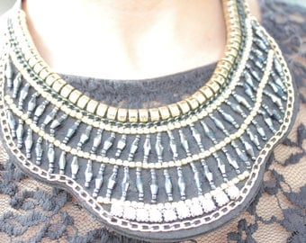 Beaded Collar Necklace, Bib Necklace, Black and Gold Necklace, Gift for Her, Black Beaded Necklace, Weeding Necklace, Party Necklace