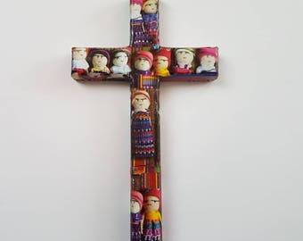 Worrydoll cross,Guatemalan Worry doll,Guatemalan Wooden Cross,Worrydoll decoration, LatinAmerican Cross, Quita Penas Cross, Quita Penas Doll