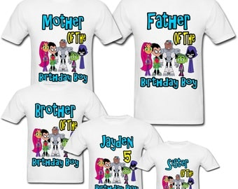 Personalized Teen Titans Go Birthday shirt for Family