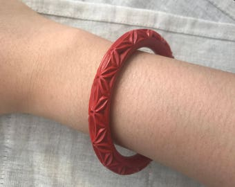 Carved Cinnabar Bracelet Red Lacquer Bangle Chinese Vintage Geometric Carve