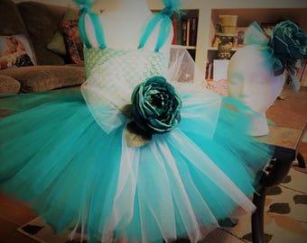 Party Dress, Birthday Tutu Dress, Flower Girl Dress, Tutu Dress, Tutu Tutu Baby, Romantic Dress, Toddler Dress, Teal Rose, Elegant Dress