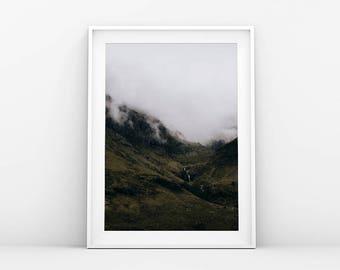 Green Mountain Side - Landscape Print - Mountain Art - Foggy Landscape - Nordic Wall Art - Nature Print - Printable Art - Scandinavian Print