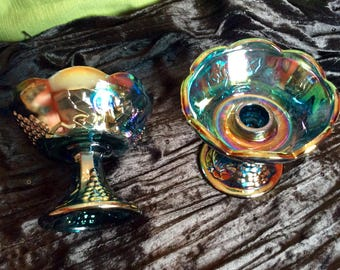 Indiana Glass co. Iridescent candle holders set of two (2)