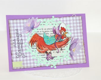 Handmade card - CHICK - card country chic - hen and flowers - lilac and glitter - simple card with envelope