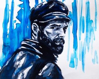 watercolor Captain Haddock