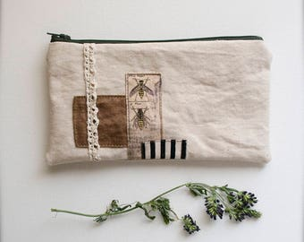 The Entomologist - one of a kind zipper pouch - canvas cotton lined - bees wasps bugs - ready to ship -  Handmade in USA