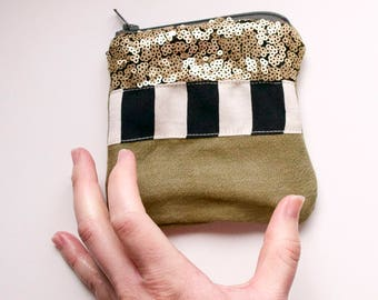 Army Askew - One of a Kind Handmade lined zipper pouch - olive green black white stripes gold sequin - Unique Made in USA Moth & Rust