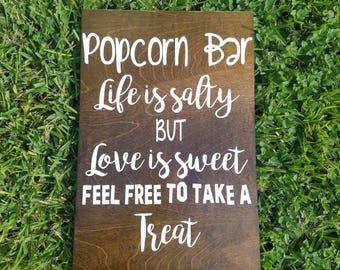 "Popcorn Bar. 12x18"" wooden sign, wedding sign, rustic sign, popcorn sign"