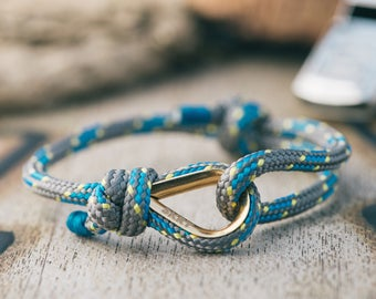 Handmade Customized Nautical Sailing Bracelet Gold blue gray color | Personalized Men present | Adjustable size, Unisex