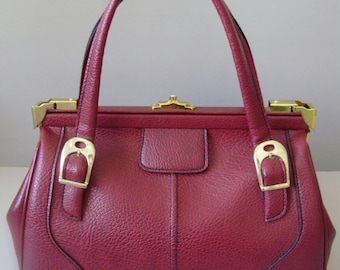 True Vintage Leather Handbag,Women bag,wine red