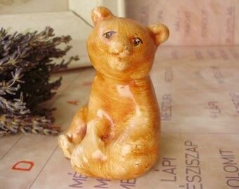 Vintage cute little bear cub,Hungarian porcelain figurine