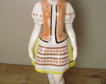 Large Vintage Hungarian Hollohaza porcelain statue,lady/girl/woman in traditional folk cloths ,handpainted,stamped