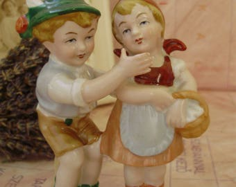 Vintage German Lippelsdorf porcelain figurine,children,boy and girl,handpainted,stamped