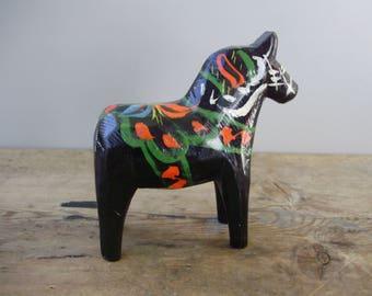 True Vintage,Swedish wood horse figurine,black Dala horse,handmade