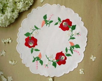 Beautiful ,Vintage,Hungarian handmade embroidered doily,Kalocsa flower pattern,Cottage/Shabby Chic