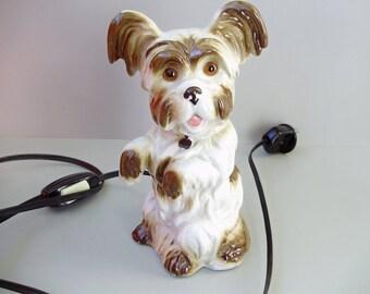 Vintage German porcelain lamp,desk lamp,mood lighting,puppy/dog figurine