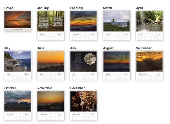 2018 Scenic photo calendar