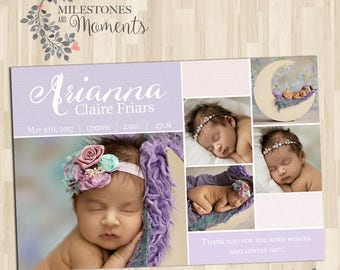 Photo Birth Announcement   Baby Birth Announcement   Baby Thank you Card   Girl Announcement   Customised for you to print   Pink   Purple