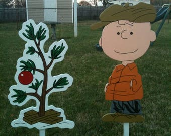Handmade Wooden Charlie Brown With The Little Christmas Tree Yard Art