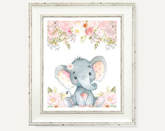 Elephant Pink Gray Nursery Decor - Pink and Gray Baby Girl Nursery Print - Instant Download - Baby Shower Party Decor - Floral Printable