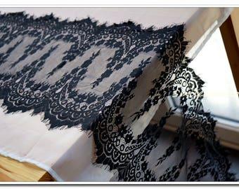 1.9 m * 33cm wide Black Lace CHANTILLY fringe LACE BLACK Ref. 2210
