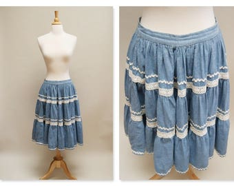 Vintage Guess Prairie Skirt ⎮ 1980 Chambray Midi Skirt ⎮ 80s Blue Lace Skirt