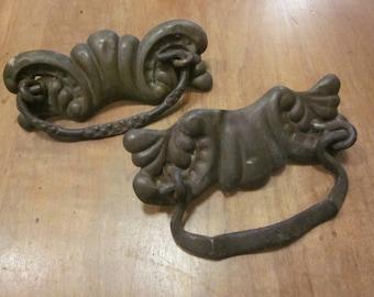 Two Metal Antique Drawer Pulls