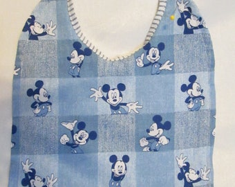Mickey Mouse Denim Checkered Look/ Blue Striped Reversible Baby Bib