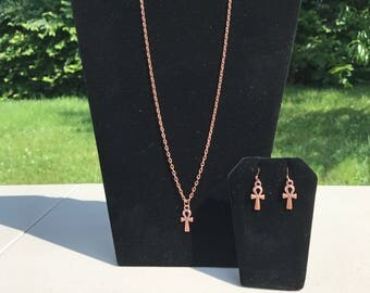 Copper Ankh necklace w/earrings