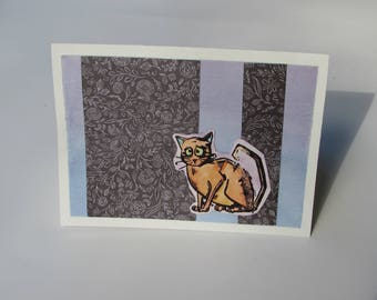 Sad cat without text and watercolor card, greeting card