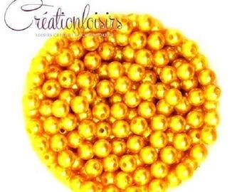 Lot 100 Acrylic Pearl round beads 4 mm yellow-orange
