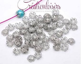 100 accessory beads caps flower 10 x 4 mm nickel free