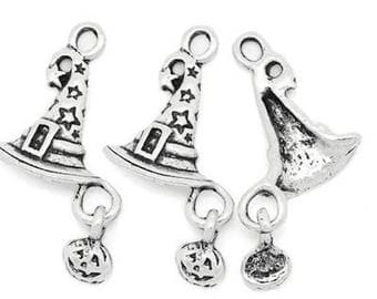 5 Halloween Hat antique silver hollow star charms