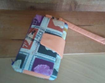 wristlet purse stamps orange