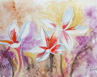 Original watercolor spontaneous flowering