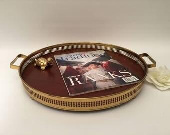 Round Brass and Woodgrain Tray