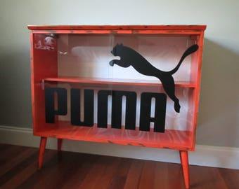 sold custom order sample vintage mcm console bookshelf cabinet puma sliding glass