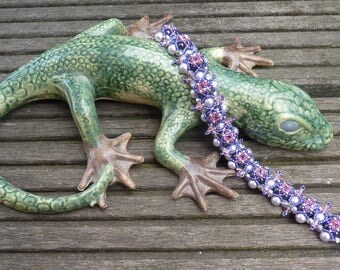 Pearl bracelet Florence-reminiscent of lavender, wild, cornflower-53inch