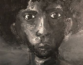 Black and white oil painting