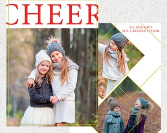 Holiday Card Photoshop Template--INSTANT DOWNLOAD--c120