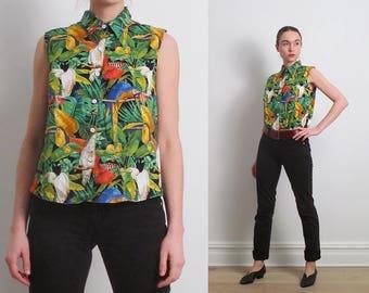 80s Sleeveless Hawaiian Tropical Shirt / M