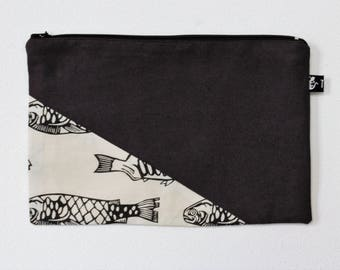 Zipper pouch | cosmetics bag | make-up bag |  printed design | pencil case |  rubber stamp | fish | project bag